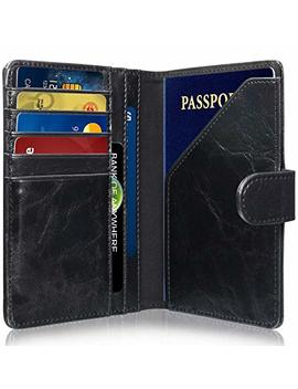 Rfid Blocking Passport Holder (9 Slots), Great Shield Theft Proof Leather Wallet [5 Credit Card Slots | 3 Cash Compartments | 1 Passport Slot] For Men & Women   Black by Great Shield