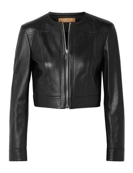 Cropped Leather Jacket by Michael Kors Collection