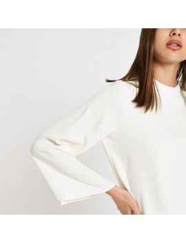 White Satin Long Sleeve Top by River Island