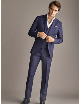 Slim Fit Navy Blue Check Wool Trousers by Massimo Dutti