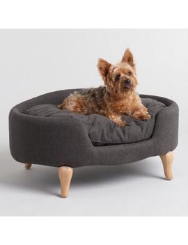 Charcoal Gray Upholstered Lola Pet Bed With Wood Legs by World Market