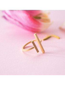 Ring With Rod, Bar, Adjustable, Matt, Gold Plated Brass. by Etsy