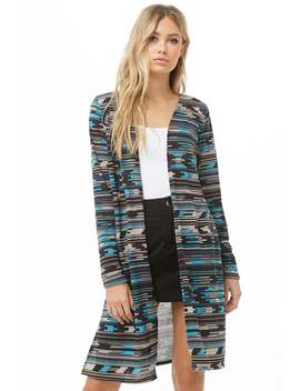 Broken Stripe Longline Cardigan by Forever 21