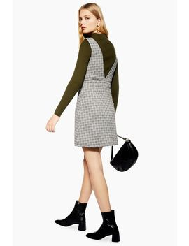 Check Button Pinafore Dress by Topshop