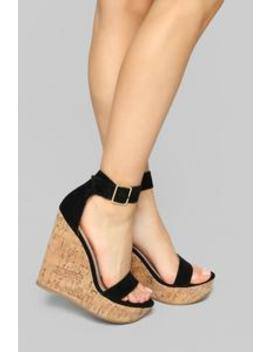Just A Distraction Wedges   Black by Fashion Nova