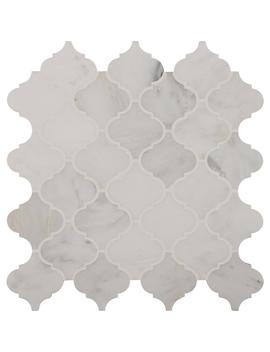 Greecian White Arabesque 12 In. X 12 In. X 10mm Polished Marble Mesh Mounted Mosaic Tile by Msi