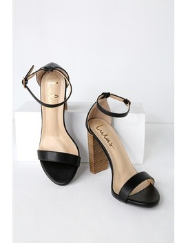 Taylor Black Stacked Ankle Strap Heels by Lulus