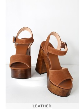 Lolita Leather Cognac Suede Wooden Platform Heels by Lulus