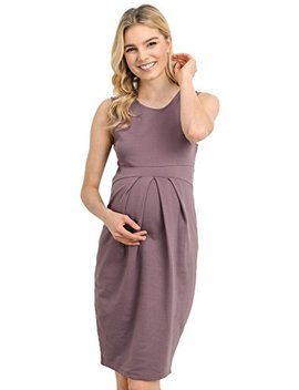 La Clef Women's Knee Length Front Pleated Sleeveless Midi Maternity Dress by La Clef