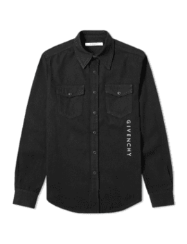 Givenchy Vertical Embroidered Logo Denim Shirt by End.