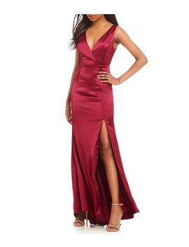 Satin Bow Back Front Slit Gown by Adrianna Papell
