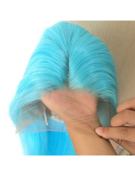"""24"""" Heat Resistant Hair Lace Front Wig Natural Straight Handtied Sky Blue by Ebay Seller"""