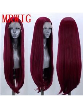 "24"" Silky Straight Wine Red Cosplay Glue Less Lace Front Wig Synthetic Hair by Ebay Seller"