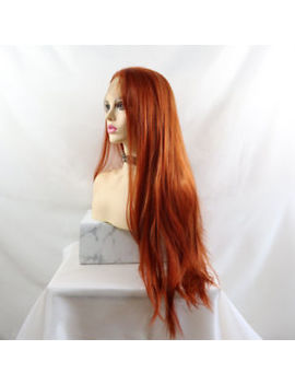 "24"" Copper Auburn Silky Straight Glue Less Lace Front Wig Synthetic Hair Women by Ebay Seller"