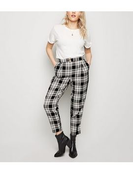 Black Check Print Slim Leg Trousers by New Look