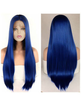 "24"" Women Lace Front Wig Heat Safe Fiber Hair Cosplay Long Straight Blue by Ebay Seller"
