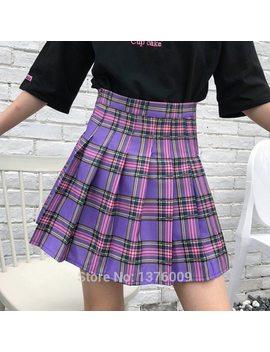 New Purple Plaid Pleated Skirt Women Kawaii Harajuku Mini Japan Uniform High Waist School Girl Cute Skirts Chic Style  by Wxcteam