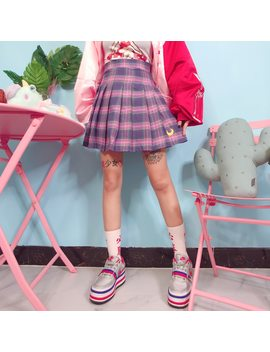 2018 Autumn New Kpop Moon Embroidery Women Pleated Skirt Japanese Harajuku Skirt High Waist Lattice Plus Size Female Saia by Chidrizawa