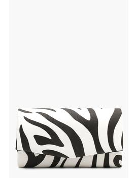 Structured Zebra Clutch With Chain by Boohoo