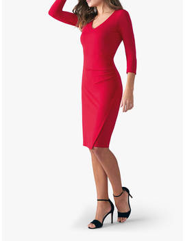 Pure Collection V Neck Bodycon Jersey Dress, Scarlet by Pure Collection