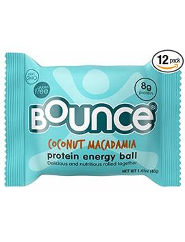 Bounce Natural Protein Energy Ball, Gluten Free Vegetarian Snack With 8g Of Whey Protein   Coconut Macadamia, 1.41 Ounce (Pack Of 12) by Bounce