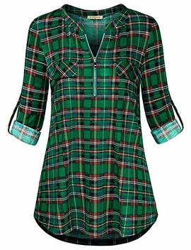 Baikea Women's 3/4 Rolled Sleeve Zipped V Neck Plaid Shirt Casual Tunic Blouses by Baikea