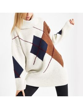 Cream Argyle Roll Neck Knit Sweater by River Island