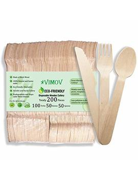 Vimov 200 Pieces Disposable Wooden Cutlery Set, Eco Friendly Biodegradable Utensils For Party, Camping, Picnics, Bbq, Event (100 Forks, 50 Knives, 50 Spoons) by Vimov