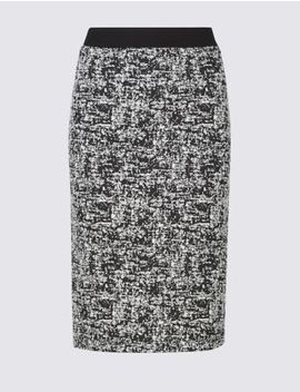 Cotton Blend Jacquard Print Pencil Skirt by Marks & Spencer