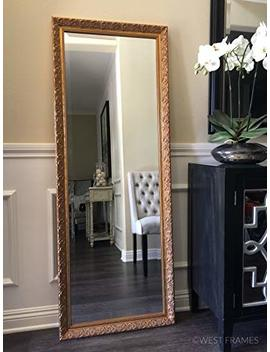 West Frames Bella Ornate Embossed Wood Framed Leaner Floor Mirror (Antique Gold) by West Frames