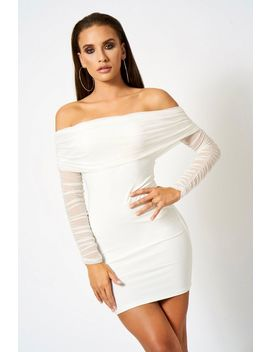 **Ruched Mesh Bardot Mini Dress Club L by Topshop