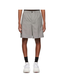 Black & White Wool Houndstooth Shorts by Alexander Wang