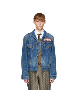 Blue Denim Oversize Patches Jacket by Gucci