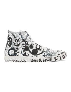 White Georgian Graffiti High Top Sneakers by Vetements