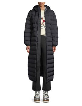 Grue Long Puffer Coat W/ Contrast Hood by Moncler