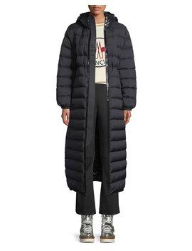 Grue Long Puffer Coat W/ Contrast Hood by Moncler