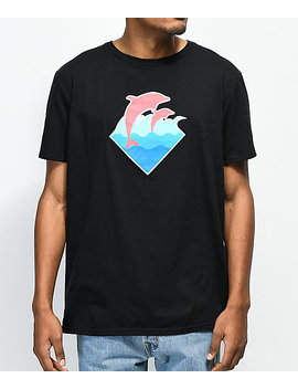 Pink Dolphin Wave Puff Print Black T Shirt by Pink Dolphin