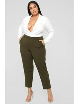 A Work Of Art Pants   Olive by Fashion Nova