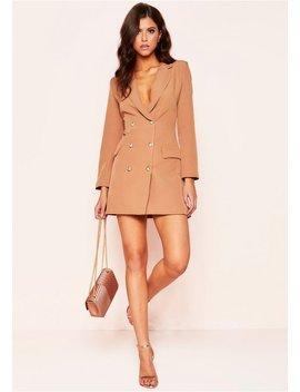 Carly Camel Tuxedo Mini Dress by Missy Empire
