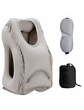 Sweesire Inflatable Travel Pillow, Airplane Pillows, Portable Neck Head Pillow For Long Flight, Train, Bus, Office Napping  Come With Eye Mask & Storage Bag (Grey) by Sweesire