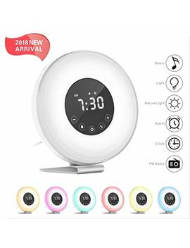 Hassh Sunrise Alarm Clock   Digital Led Clock With Multiple Nature Sounds,7 Changing Colors And Fm Radio For Bedrooms   Sunset Simulation & Touch Control   With Snooze Function For Heavy Sleepers by Hassh