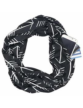 Fashion Infinity Scarves With Zipper Pocket For Women Men   Novelty Wrap Travel Scarf With Hidden Pocket by Heth
