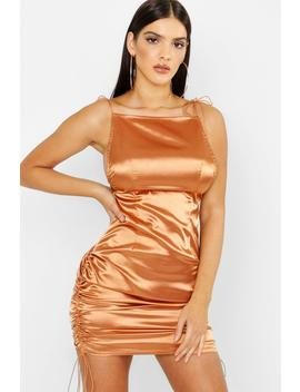 Satin Square Neck Bodycon Dress by Boohoo