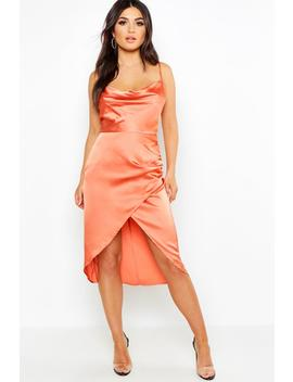 Satin Cowl Neck Wrap Skirt Midi Dress by Boohoo