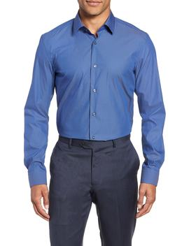 Isko Slim Fit Stretch Check Dress Shirt by Boss