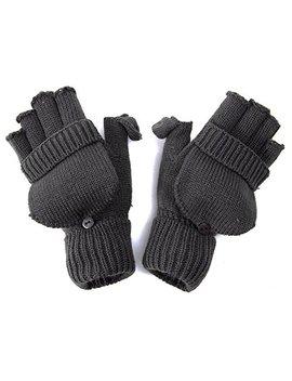 Winter Fingerless Flap Knit Mitten Convertible Flip Gloves by Gravity Threads