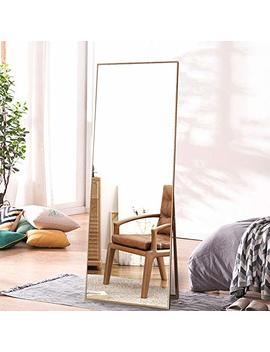 "Onxo Full Length Mirror Large Floor Mirror Standing Or Wall Mounted Mirror Dressing Mirror Frame Mirror For Living Room/Bedroom/Cloakroom (65""X22"", Gold) by Onxo"