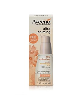 Aveeno Ultra Calming Fragrance Free Daily Facial Moisturizer For Sensitive, Dry Skin With Spf 30 Mineral Sunscreen, Calming Feverfew & Nourishing Oat, 2.3 Fl. Oz by Aveeno