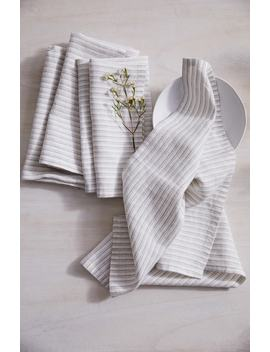 Set Of 4 Stripe Linen & Cotton Napkins by The White Company
