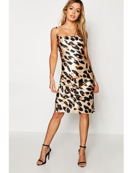 Petite Leopard Print Cowl Neck Midi Dress by Boohoo